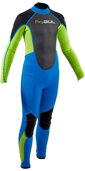 2020 GUL Junior Response 3/2mm Back Zip Wetsuit RE1322-B7 - Blue / Lime