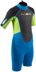 2020 GUL Junior Response 3/2mm Back Zip Shorty Wetsuit RE3322-B7 - Blue / Lime