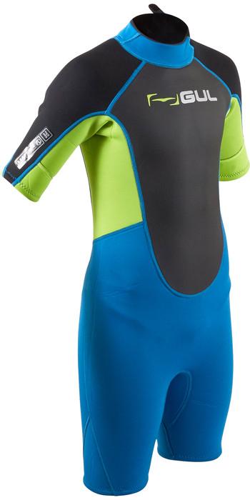 2020 GUL Junior Response 3mm Back Zip Shorty Wetsuit RE3322-B7 - Blue / Lime