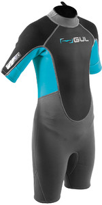 2020 GUL Junior Response 3/2mm Back Zip Shorty Wetsuit RE3322-B7 - Grey / Blue