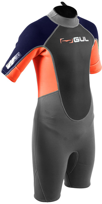2020 GUL Junior Response 3mm Back Zip Shorty Wetsuit RE3322-B7 - Grey / Orange