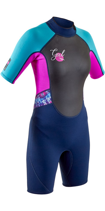 2020 GUL Junior Response 3mm Back Zip Shorty Wetsuit RE3321-B7 - Navy / Rouge