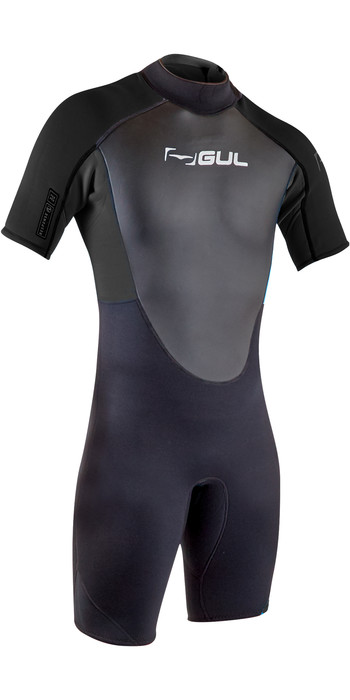2020 GUL Mens Response 3/2mm Back Zip Shorty Wetsuit RE3319-B7 - Black