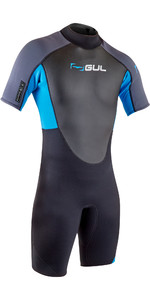 2020 GUL Mens Response 3/2mm Back Zip Shorty Wetsuit RE3319-B7 - Black / Blue