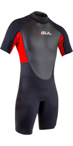 2020 GUL Mens Response 3/2mm Back Zip Shorty Wetsuit RE3319-B7 - Black / Red