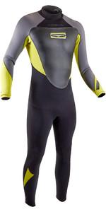 2020 GUL Mens 3/2mm Response Back Zip Wetsuit RE1231-B7 - Black / Lime