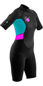 2020 GUL Womens Response 3/2mm Back Zip Shorty Wetsuit RE3318-B7 - Black / Cyan