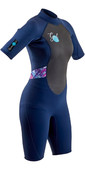 2020 GUL Womens Response 3mm Back Zip Shorty Wetsuit RE3318-B7 - Navy / Tie Dye