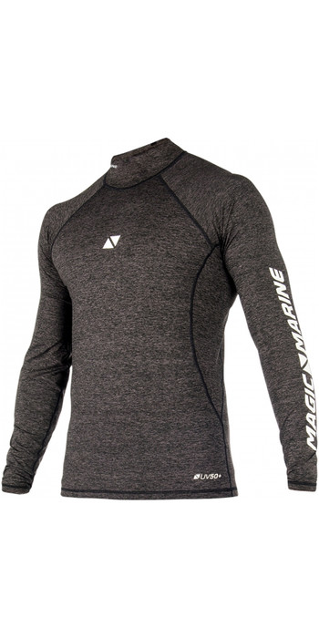 2020 Magic Marine Mens Cube Long Sleeve Rash Vest 180041 - Black
