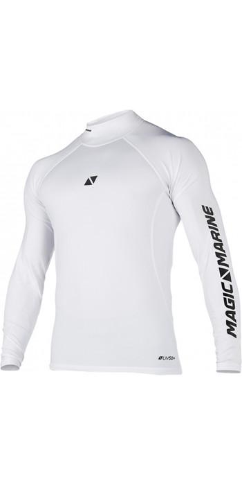 2021 Magic Marine Mens Cube Long Sleeve Rash Vest 180041 - White