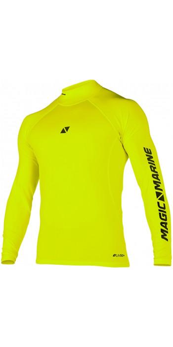2021 Magic Marine Mens Cube Long Sleeve Rash Vest 180041 - Flash Yellow