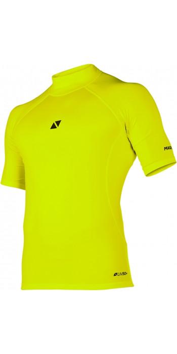 2021 Magic Marine Mens Cube Short Sleeve Rash Vest 180042 - Flash Yellow