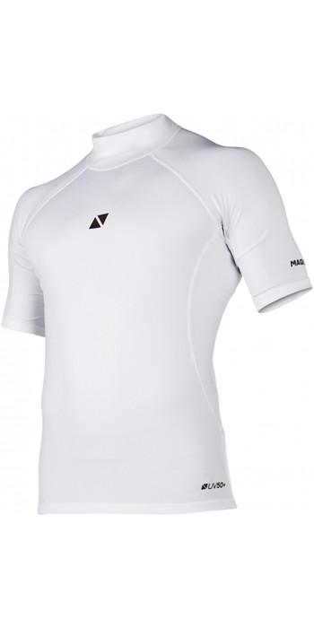 2021 Magic Marine Mens Cube Short Sleeve Rash Vest 180042 - White