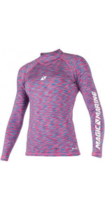 2020 Magic Marine Womens Cube Long Sleeve Rash Vest 180043 - Blue / Pink Melee