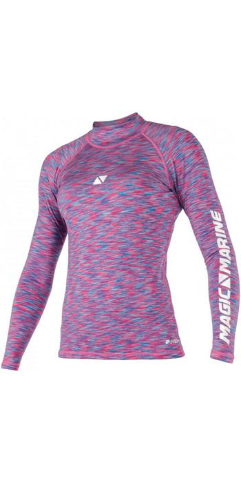 2020 Magic Marine Womens Cube Long Sleeve Rash Vest 180043 - Blue / Pink Melee