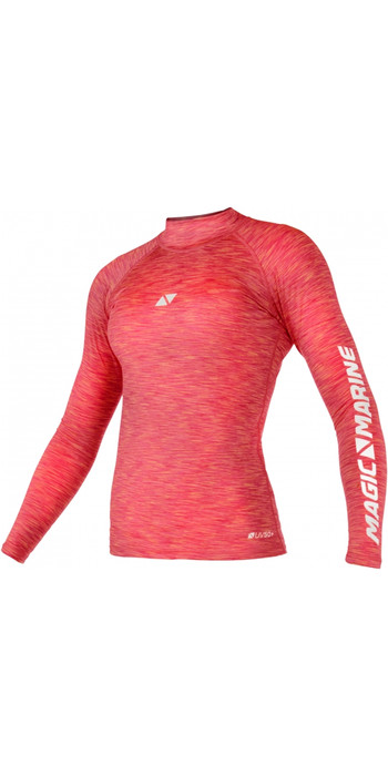 2021 Magic Marine Womens Cube Long Sleeve Rash Vest 180043 - Pink Melee