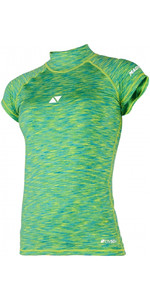 2020 Magic Marine Womens Cube Short Sleeve Rash Vest 180044 - Green Melee