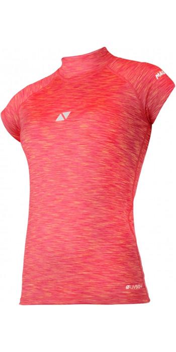 2020 Magic Marine Womens Cube Short Sleeve Rash Vest 180044 - Pink Melee