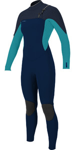 2020 O'Neill Womens Hyperfreak+ 4/3mm Chest Zip Wetsuit 5349 - Abyss / Turuoise