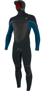 2020 O'Neill Mens Psycho Tech 6/4+mm Chest Zip hooded Wetsuit 5366 - Gunmetal / Ultra Blue