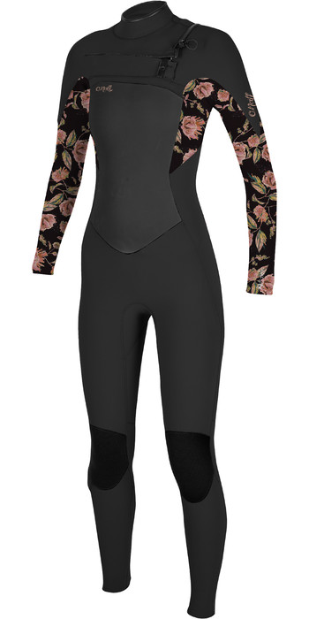 2021 O'Neill Womens Epic 4/3mm Chest Zip GBS Wetsuit 5356 - Black / Flo
