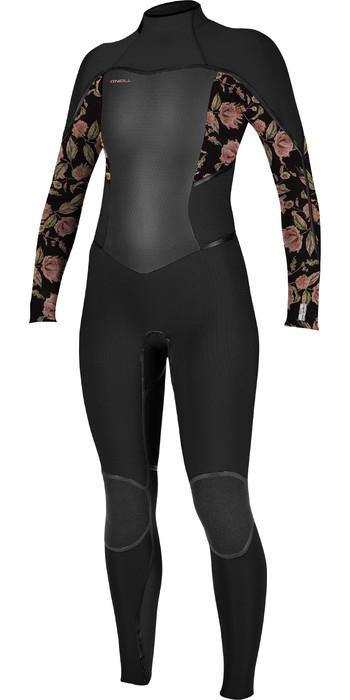 2020 O'Neill Womens Psycho Tech+ 4/3mm Chest Zip Wetsuit 5339 - Black / Flo