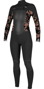 2020 O'Neill Womens Psycho Tech 5/4+mm Chest Zip Wetsuit 5367 - Black / Flo