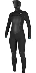 2021 O'Neill Womens Psycho Tech 6/4mm Chest Zip Hooded Wetsuit 5368 - Black
