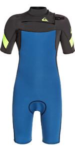 2021 Quiksilver Boys Syncro 2mm Chest Zip Shorty Wetsuit EQBW503011 - Marina / Black