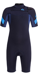 2020 Quiksilver Boys Syncro 2mm Chest Zip Shorty Wetsuit EQBW503011 - Navy / Iodine