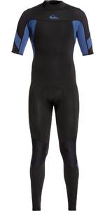2021 Quiksilver Mens 2mm Syncro Back Zip Short Sleeve Wetsuit EQYW303011 - Black / Blue