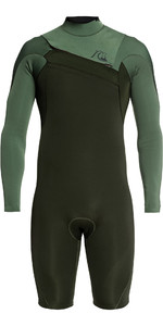 2021 Quiksilver Mens Highline Limited 2mm Chest Zip Shorty Wetsuit EQYW403012 - Ivy / Olive