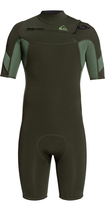 2021 Quiksilver Mens Syncro 2mm Chest Zip Shorty Wetsuit EQYW503014 - Ivy / Olive