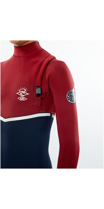 2020 Rip Curl Junior Flashbomb 4/3mm Zip Free Wetsuit WSMYYB - Navy / Red