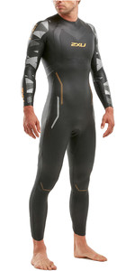 2020 2XU Mens P:2 Propel Triathlon Wetsuit MW4990C - Black / Orange Fizz