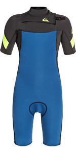 2020 Quiksilver Boys Syncro 2mm Chest Zip Shorty Wetsuit EQBW503011 - Marina / Black