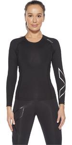 2021 2XU Womens Core Compression Long Sleeve Top WA6401a - Black / Silver