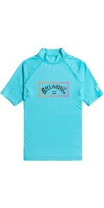 2021 Billabong Junior Boys Unity Short Sleeve Rash Vest W4KY14 - Aqua