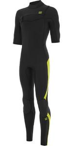 2021 Billabong Mens Absolute 2mm Chest Zip Short Sleeve GBS Wetsuit S42M65 - Lime