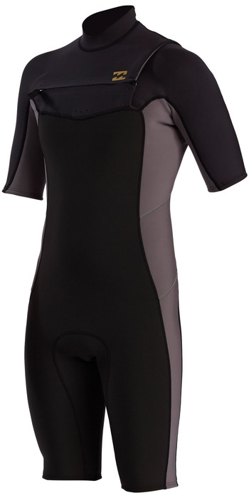2021 Billabong Mens Absolute 2mm Flatlock Chest Zip Shorty Wetsuit W42M71 - Charcoal