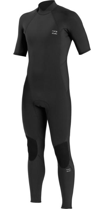 2021  Billabong Mens Absolute 2mm Flatlock Short Sleeve Back Zip Wetsuit W42M70 - Black
