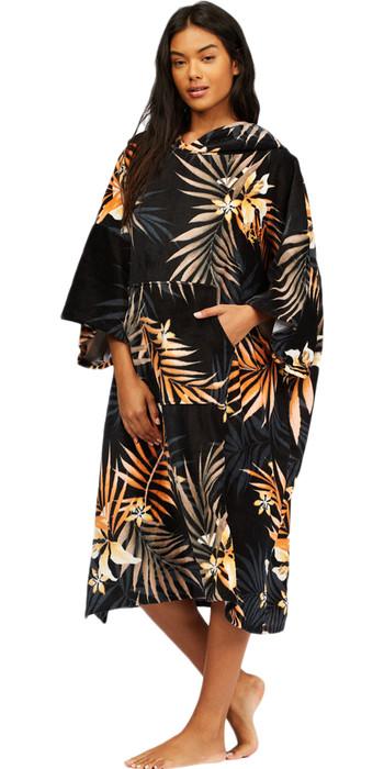 2021 Billabong Womens Hooded Towel Robe Poncho Z4BR40 - Black Pebble