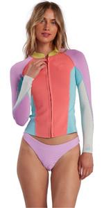 2021 Billabong Womens Peeky Jacket 2mm Wetsuit Top W42G56 - Neon Daze