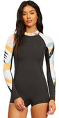 2021 Billabong Womens Spring Fever 2mm Long Sleeve Shorty Wetsuit Z42G15 - Heat Wave