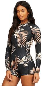 2021 Billabong Womens Spring Fever 2mm Long Sleeve Shorty Wetsuit Z42G15 - Black Pebble