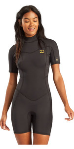 2021 Billabong Womens Synergy 2mm Back Zip Shorty Wetsuit W42G60 - Black Tropic