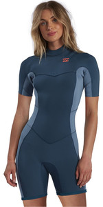 2021 Billabong Womens Synergy 2mm Back Zip Shorty Wetsuit W42G60 - Blue Seas
