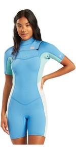 2021 Billabong Womens Synergy 2mm Chest Zip Shorty Wetsuit W42G59 - Maui Blue