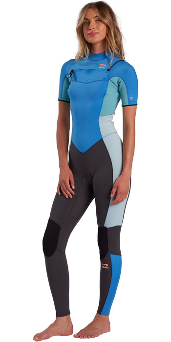 2021 Billabong Womens Synergy 2mm Chest Zip Short Sleeve Wetsuit W42G57 - Maui Blue