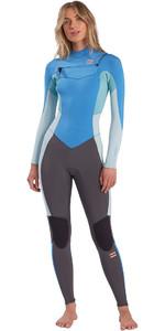2021 Billabong Womens Synergy 4/3mm Chest Zip Wetsuit W44G51 - Maui Blue